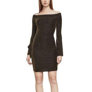 BCBG .Ellena Metallic Off-The-Shoulder Dress.NWT!